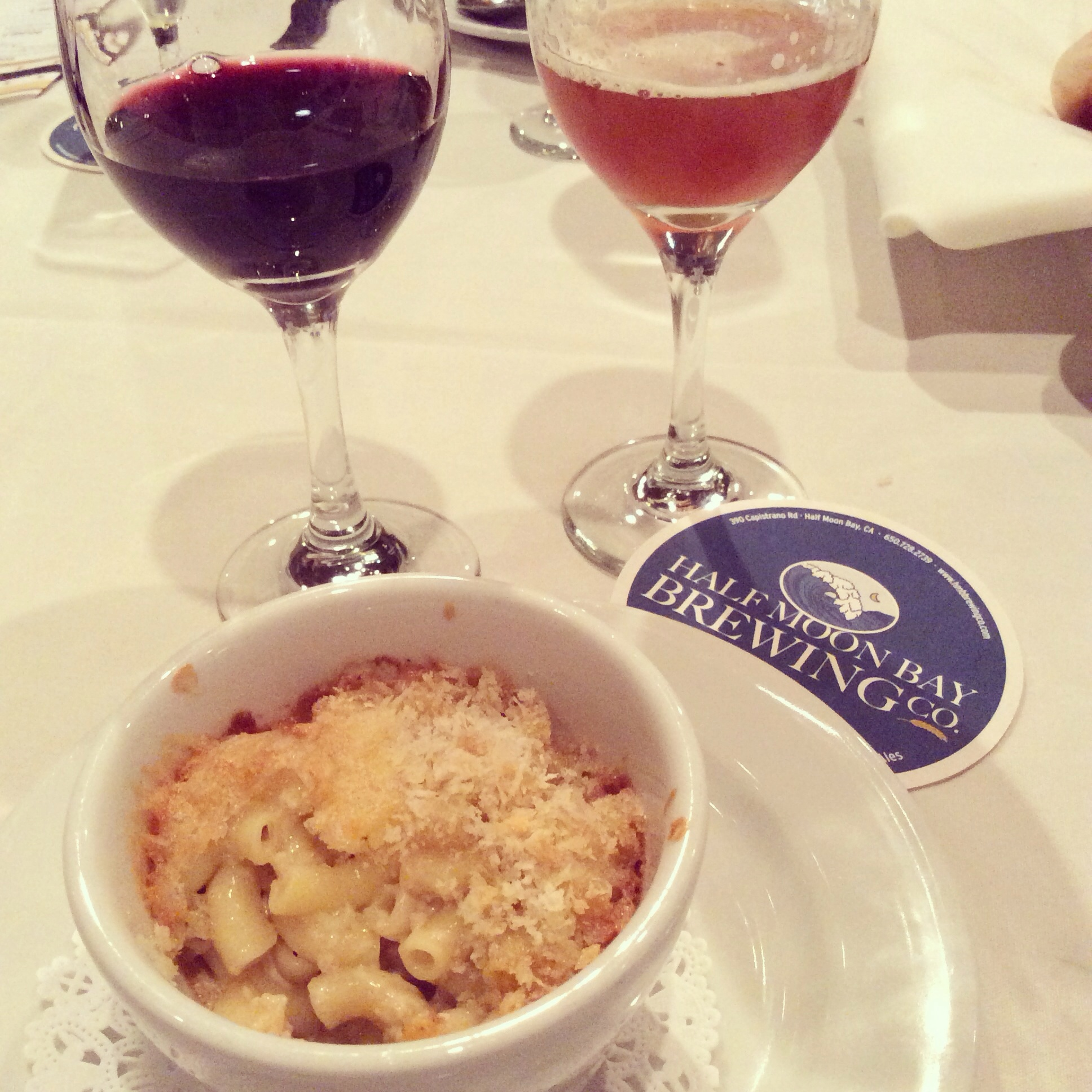 Mac & Cheese with Harley Farms Fromage Blanc and Cowgirl Creamery Red Hawk Triple Cream Princeton by the Sea IPA 2010 Hatcher Winery Mourvedre