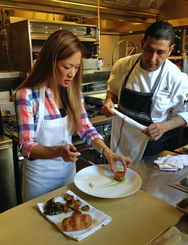 Plating with Lark Creek Steak Chef Ismael Macias