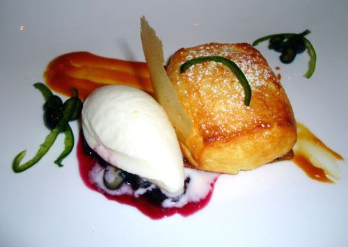 Dessert – Sweet Corn Soufflé w/Blueberry Chutney, Yogurt, Brown ...