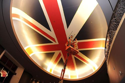 Painting the Union Jack at Gordon Ramsay Steak SMALL